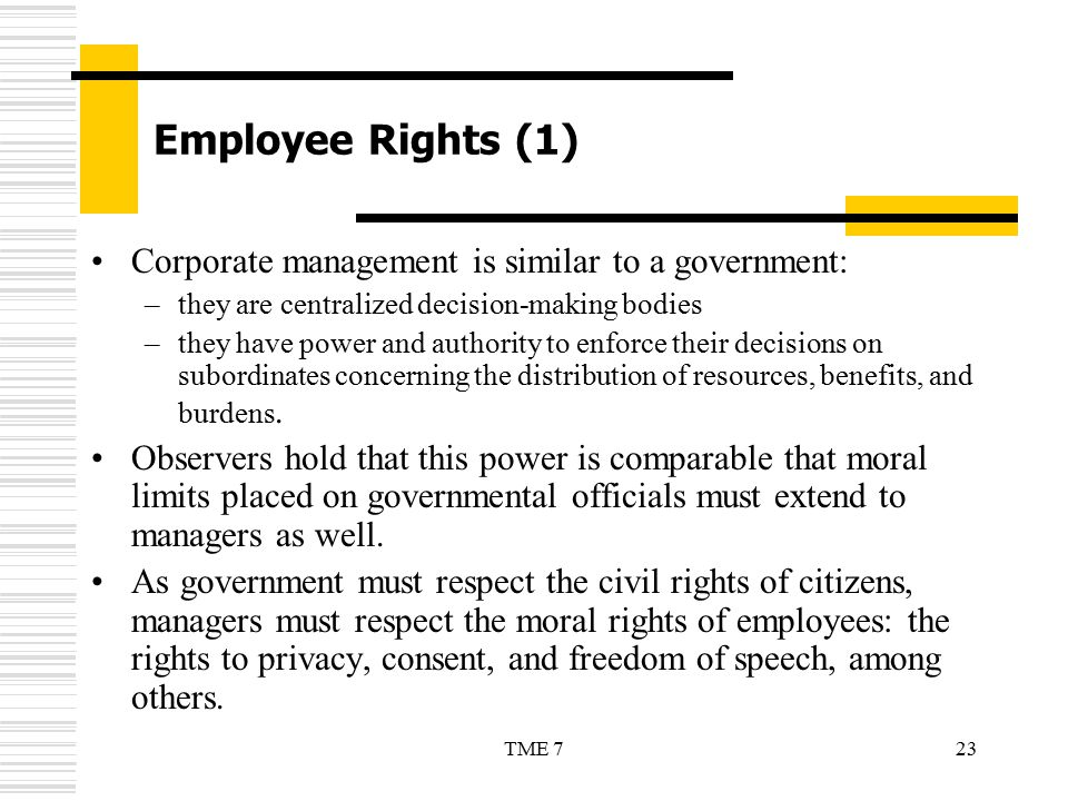 Employee Rights (1) Corporate management is similar to a government: