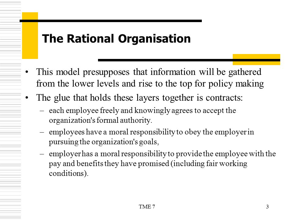 The Rational Organisation