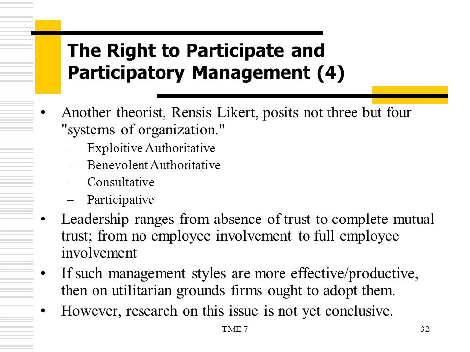 The Right to Participate and Participatory Management (4)