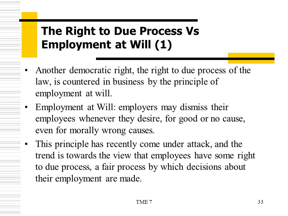 The Right to Due Process Vs Employment at Will (1)