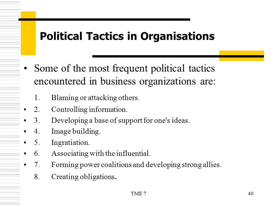 Political Tactics in Organisations