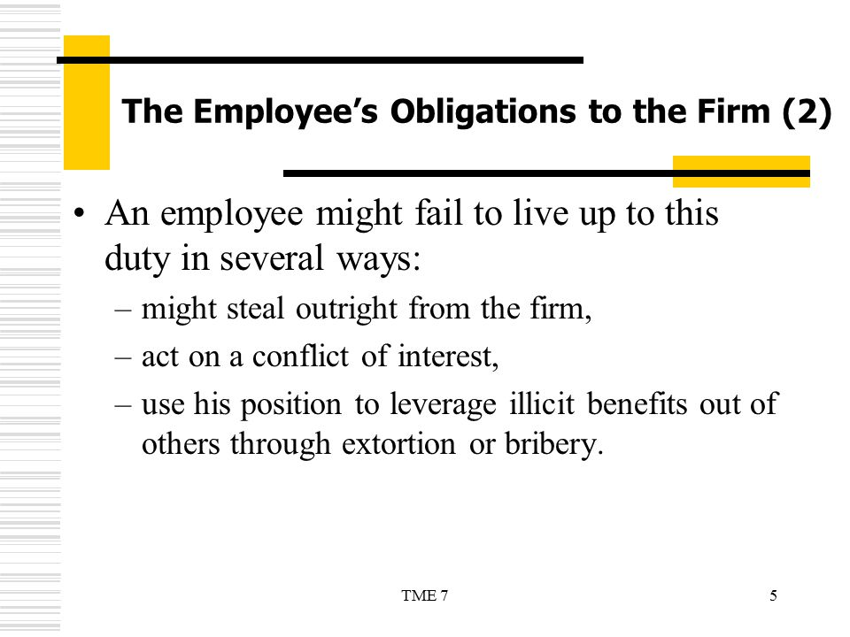 The Employee's Obligations to the Firm (2)