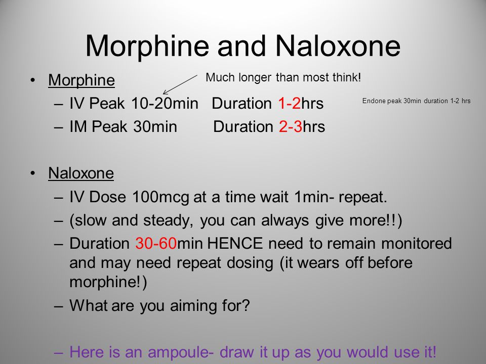 Morphine and Naloxone Morphine IV Peak 10-20min Duration 1-2hrs