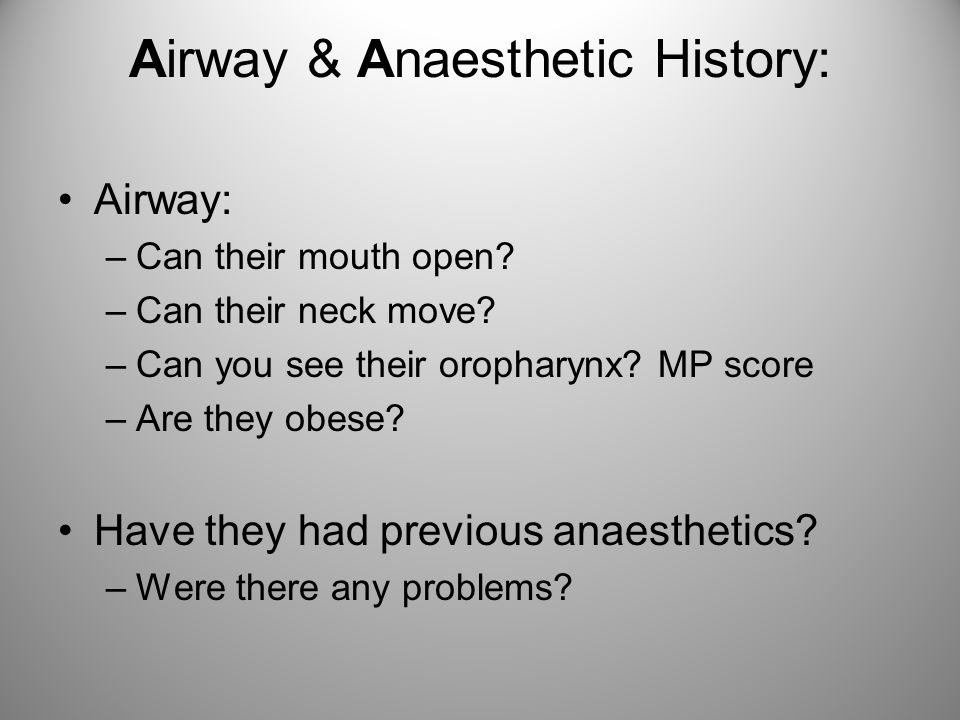 Airway & Anaesthetic History: