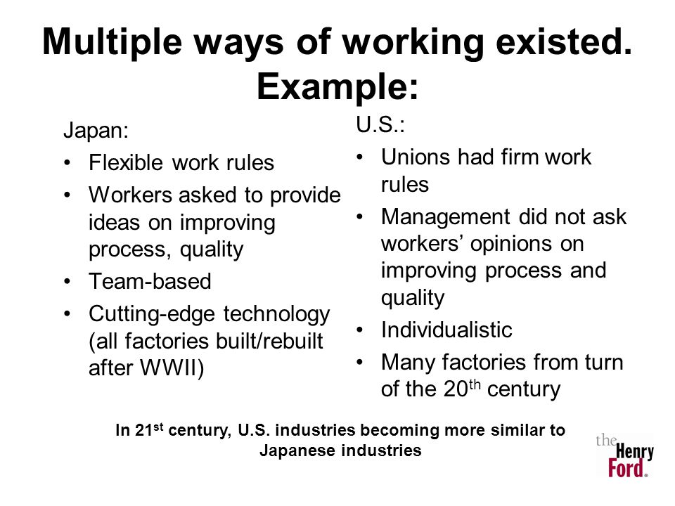Multiple ways of working existed. Example:
