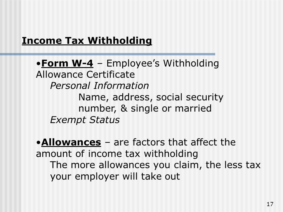 Income Tax Withholding
