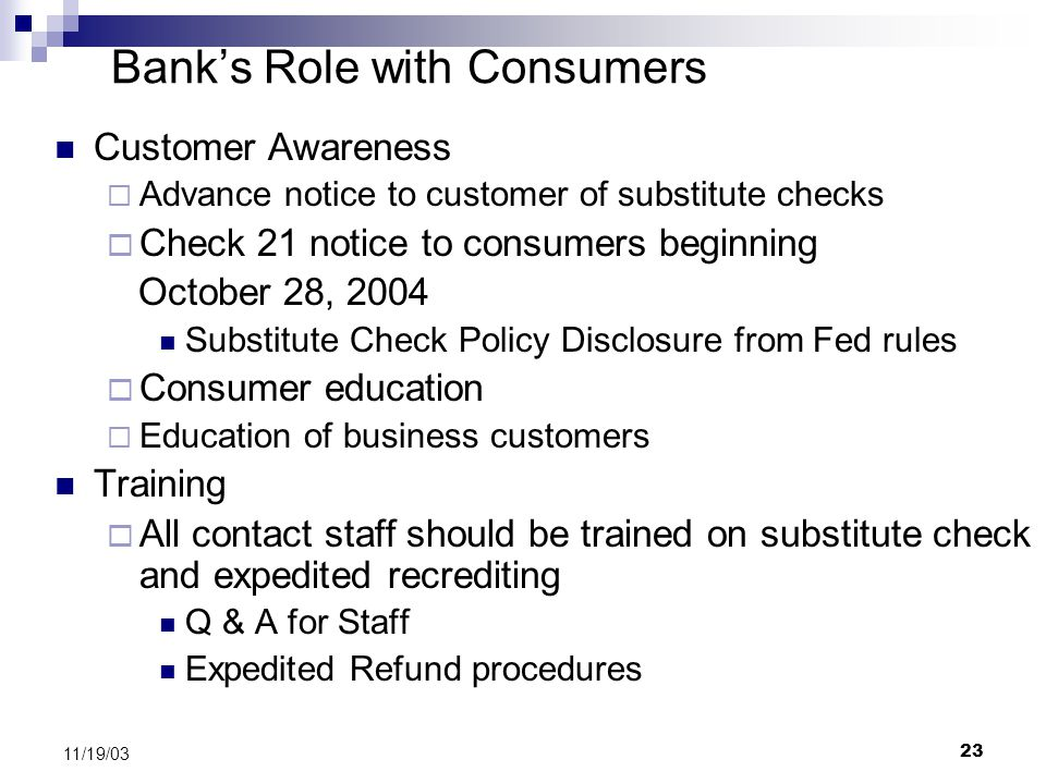 Bank's Role with Consumers