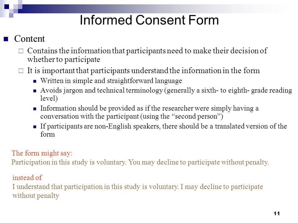 Informed Consent Form Content