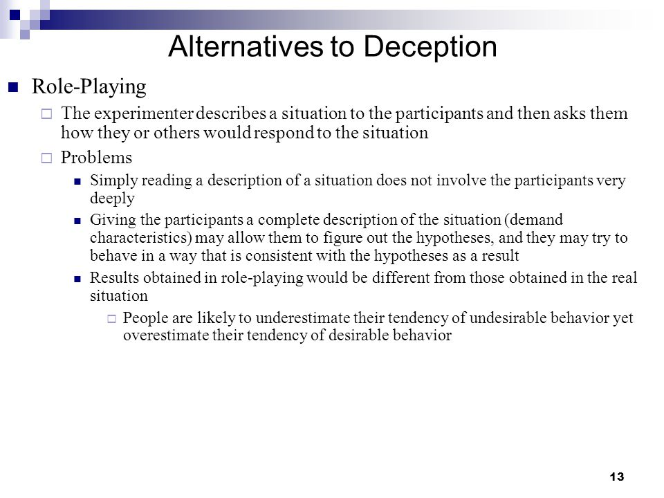 Alternatives to Deception