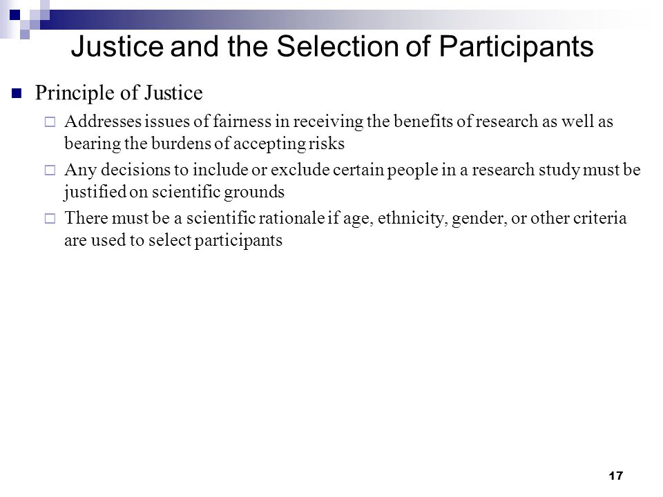Justice and the Selection of Participants