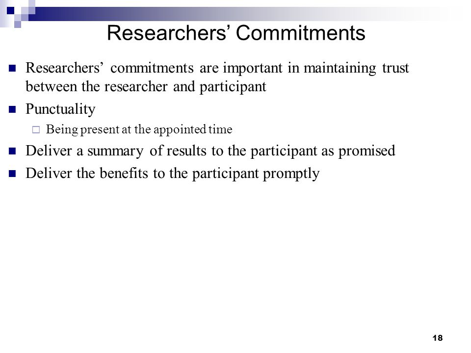 Researchers' Commitments