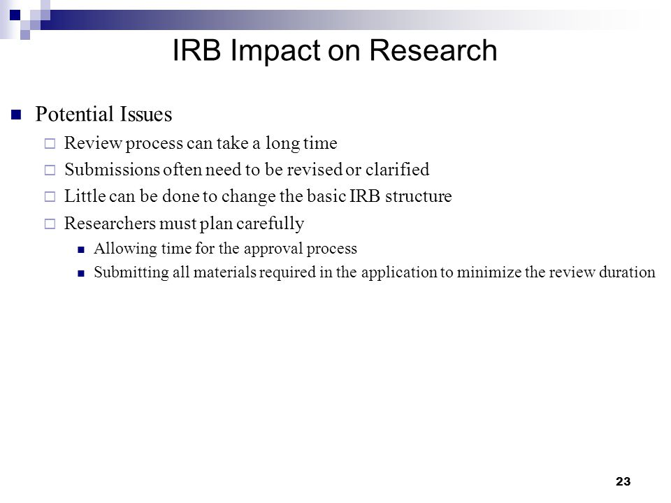 IRB Impact on Research Potential Issues