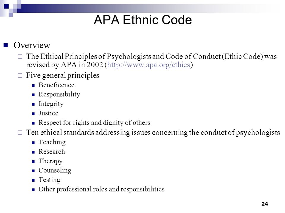 APA Ethnic Code Overview
