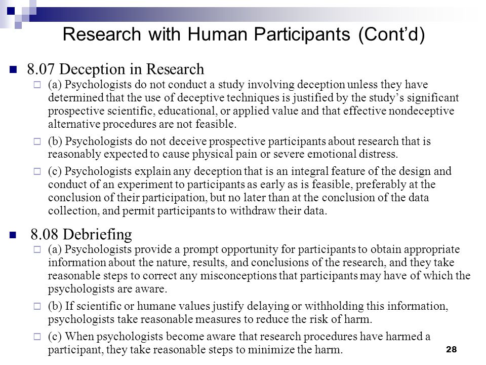 Research with Human Participants (Cont'd)