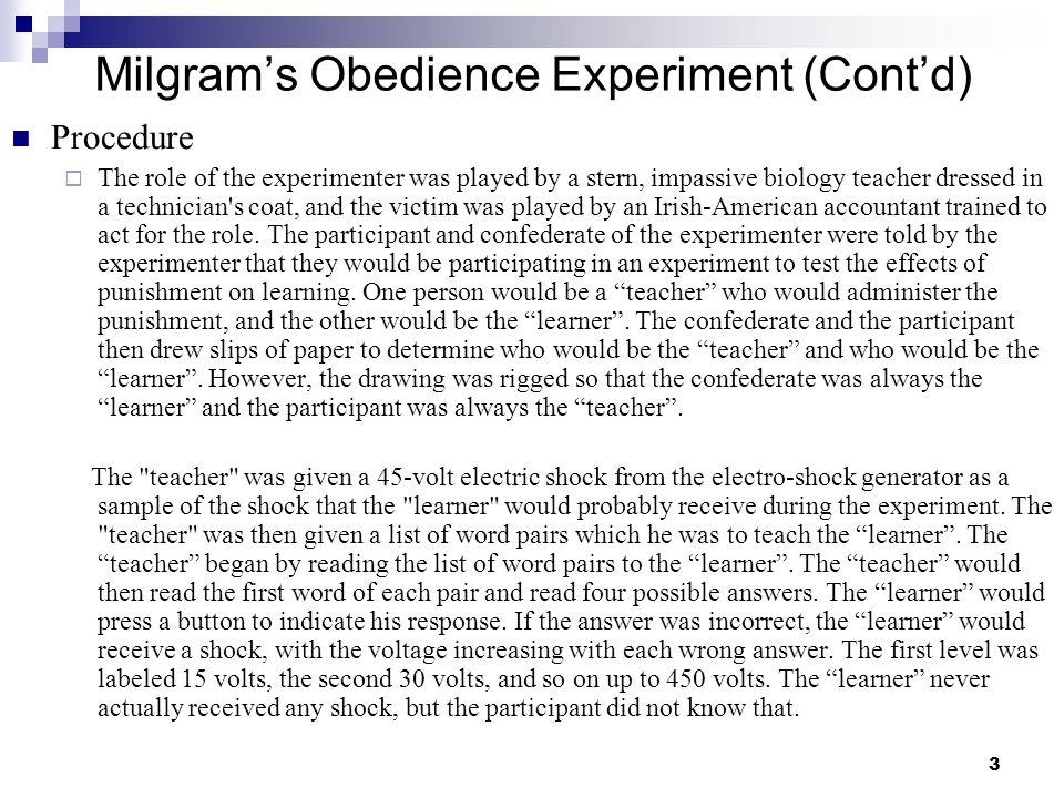 Milgram's Obedience Experiment (Cont'd)