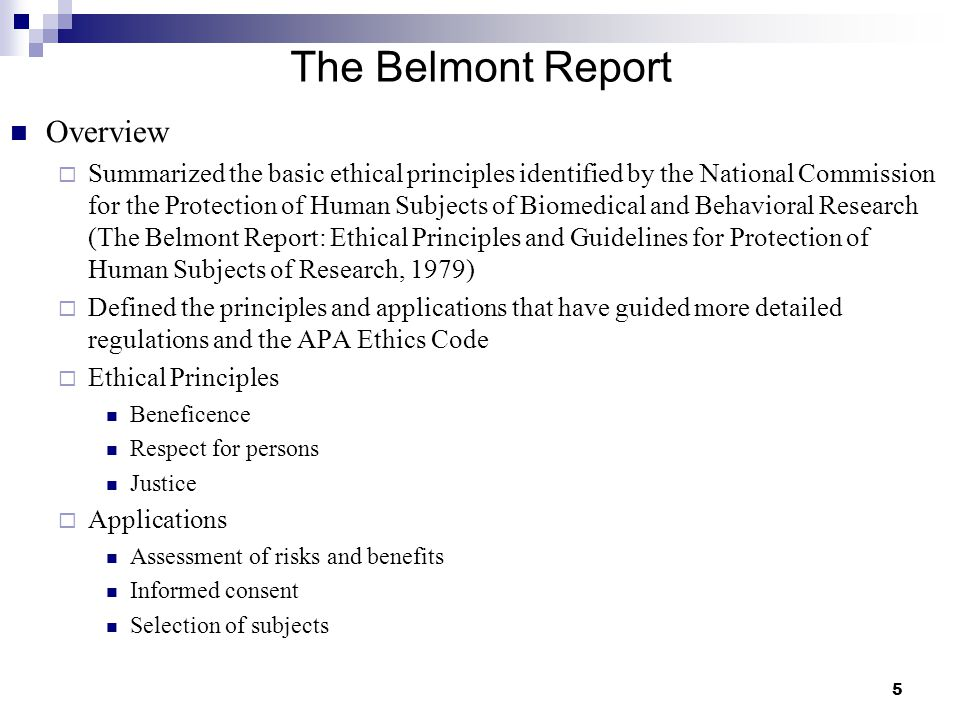 The Belmont Report Overview