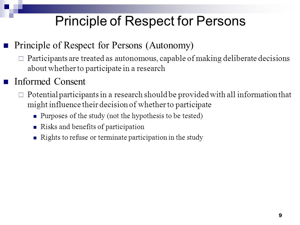 Principle of Respect for Persons