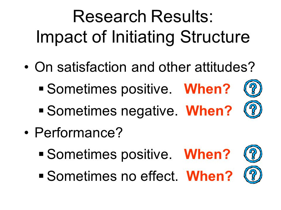 Research Results: Impact of Initiating Structure