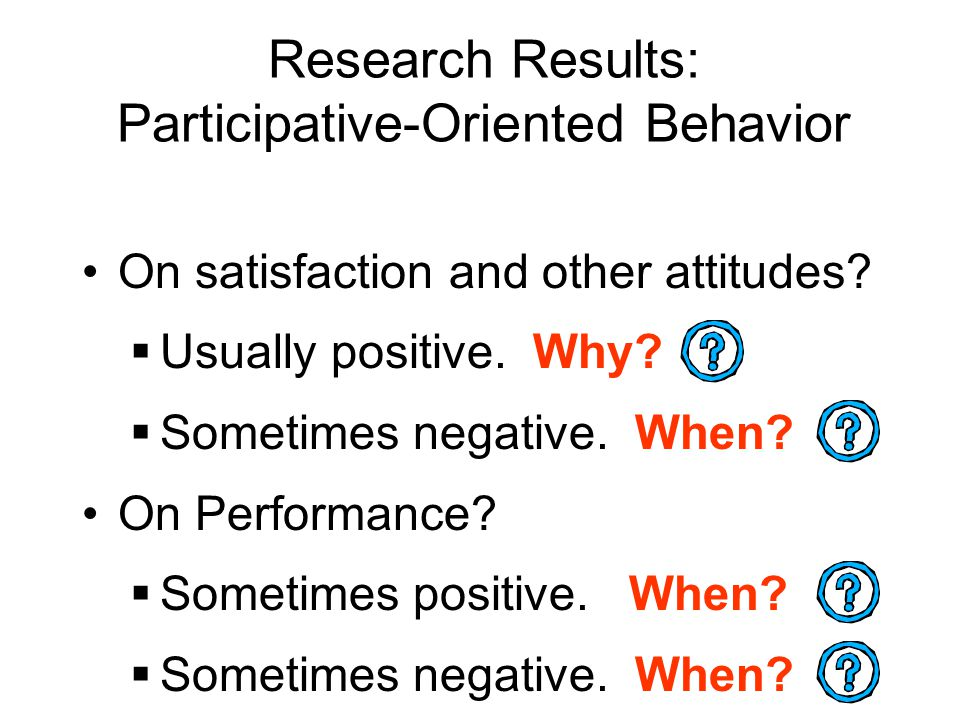 Research Results: Participative-Oriented Behavior