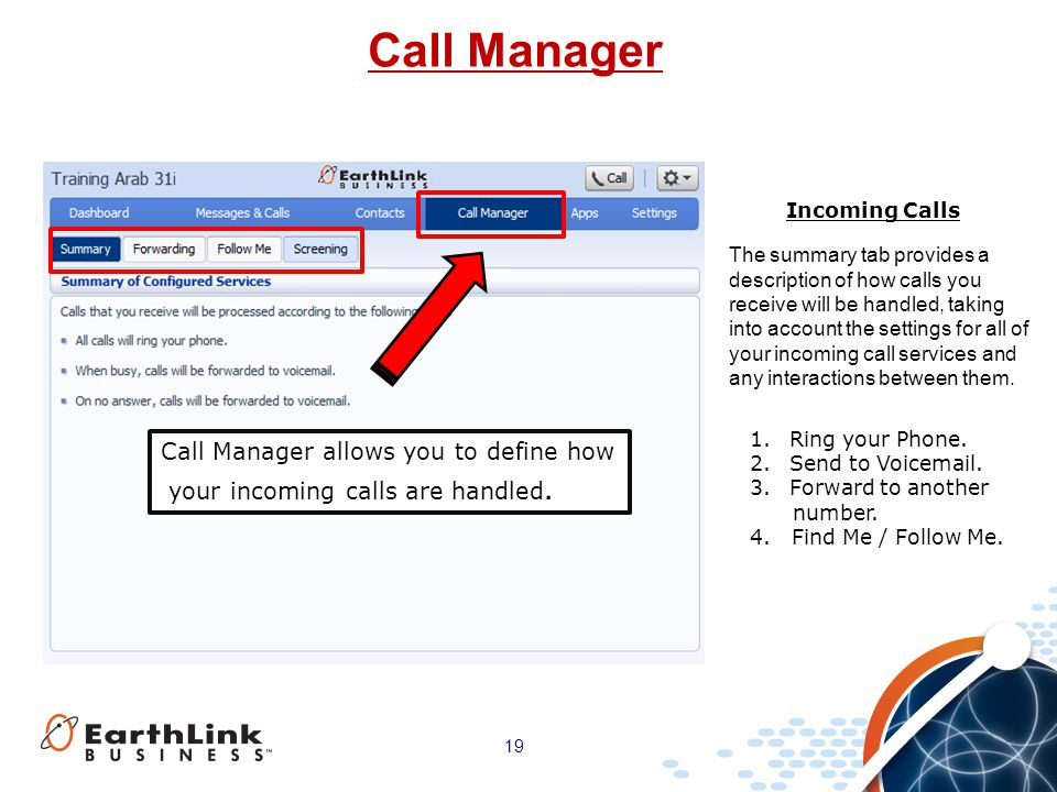 Call Manager Call Manager allows you to define how