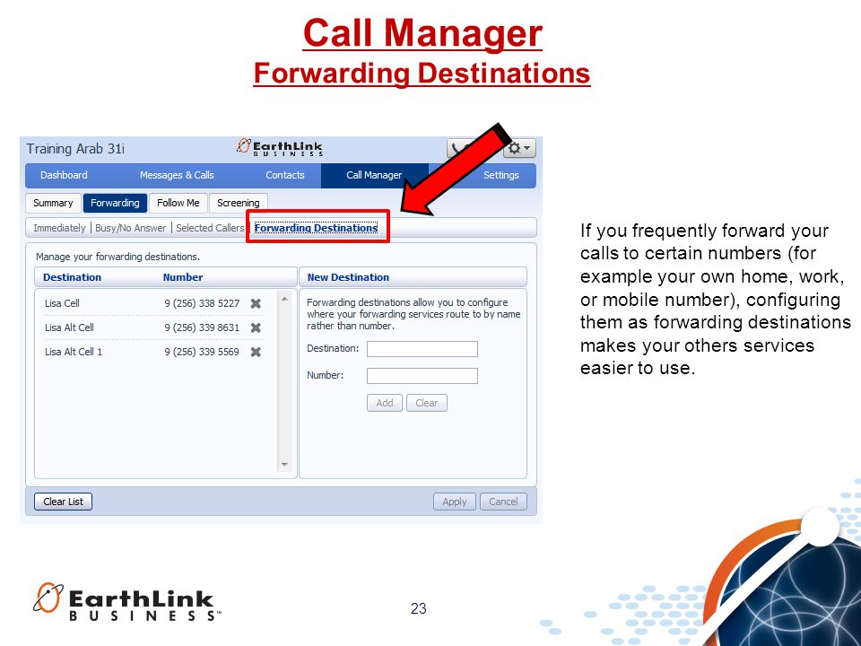 Call Manager Forwarding Destinations