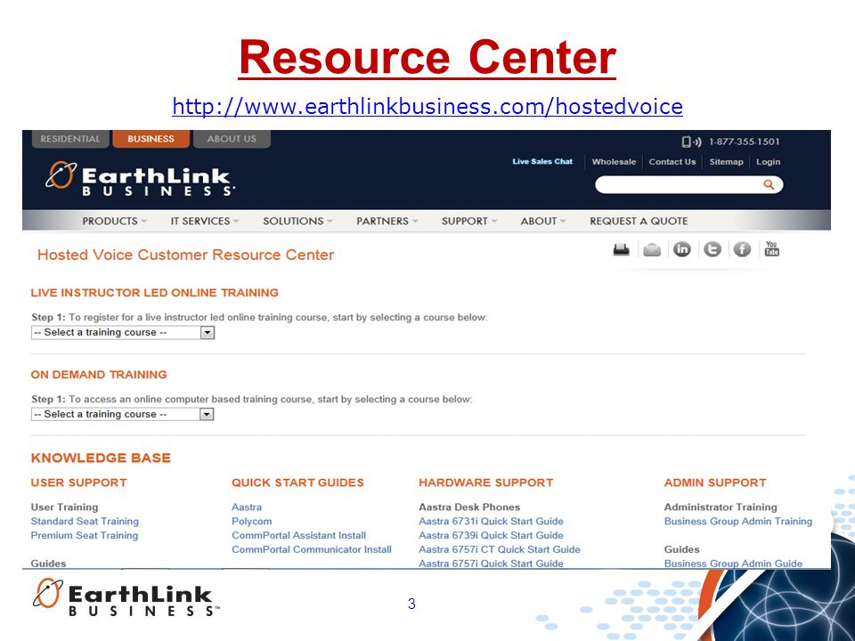 Resource Center http://www.earthlinkbusiness.com/hostedvoice