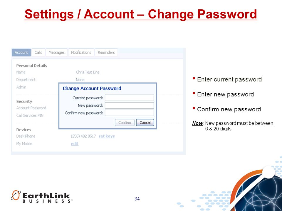 Settings / Account – Change Password