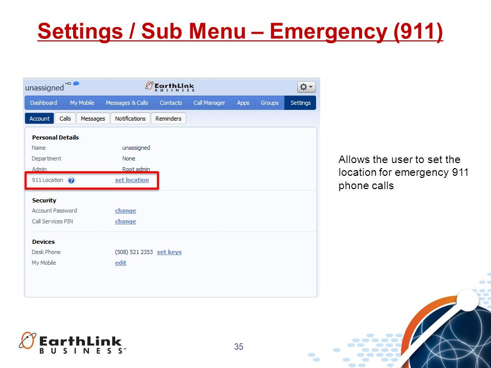 Settings / Sub Menu – Emergency (911)