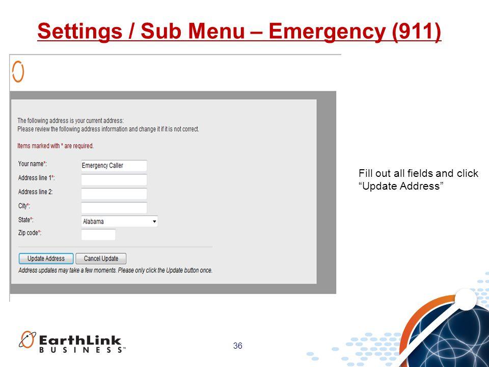 Settings / Sub Menu – Emergency (911)