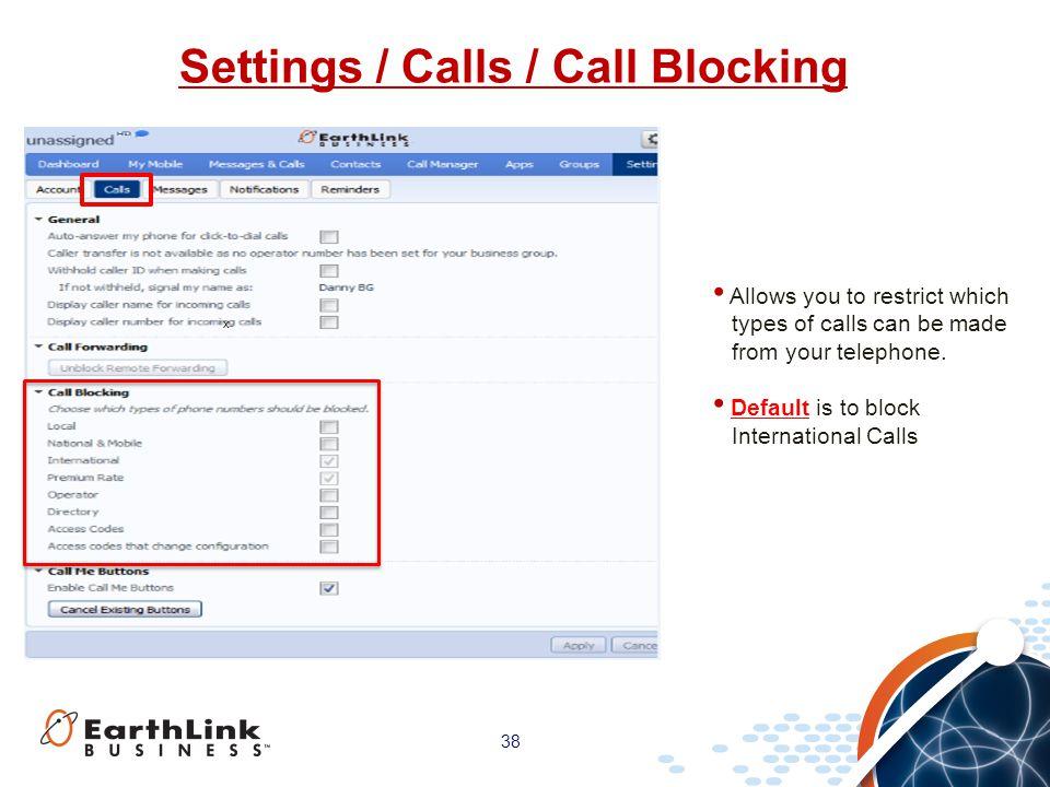 Settings / Calls / Call Blocking