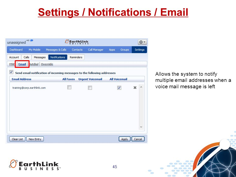 Settings / Notifications / Email