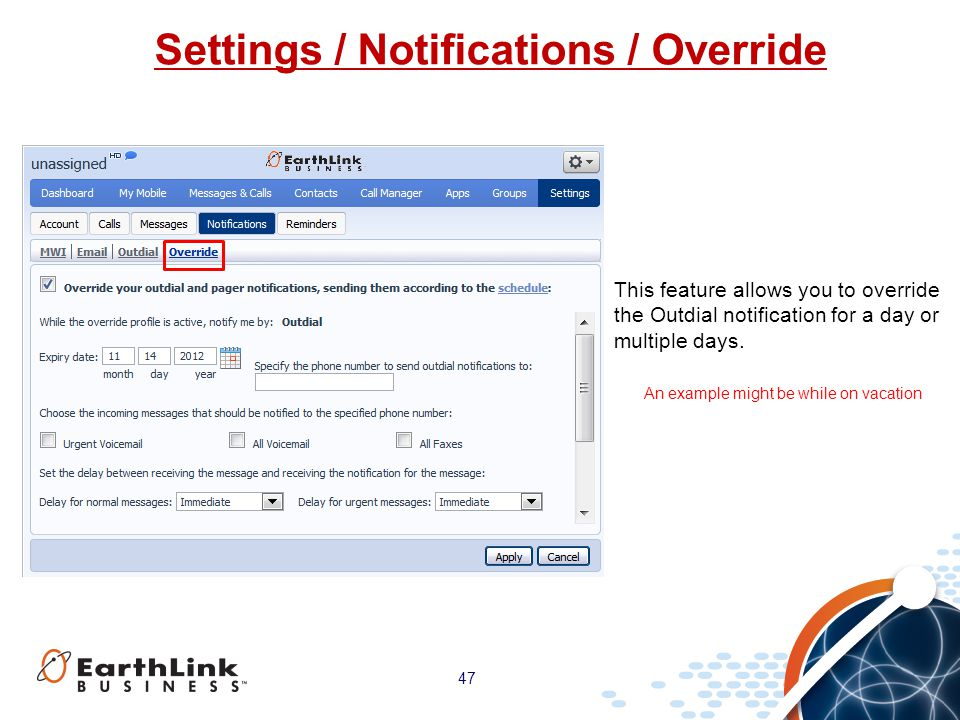 Settings / Notifications / Override