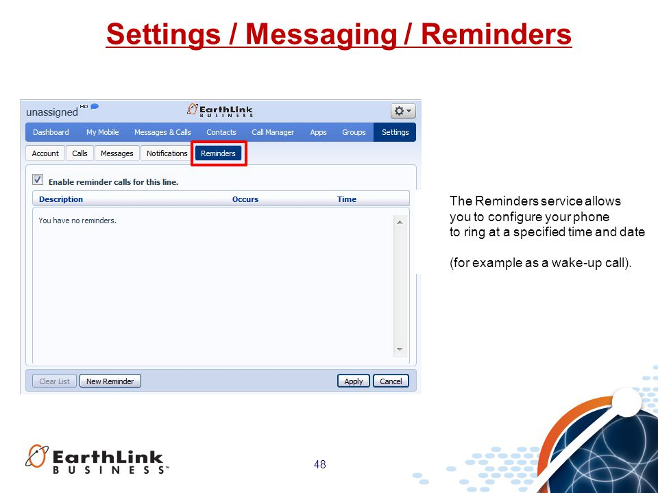 Settings / Messaging / Reminders