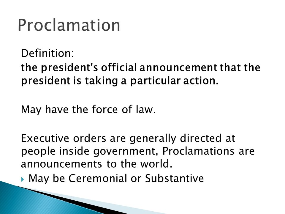 Proclamation Definition: