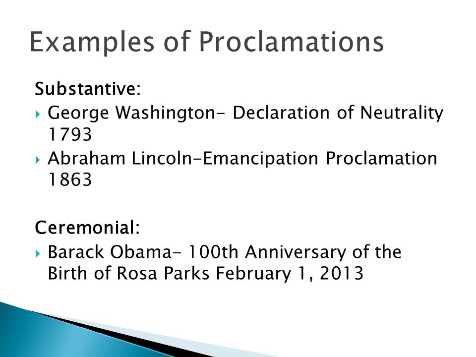 Examples of Proclamations