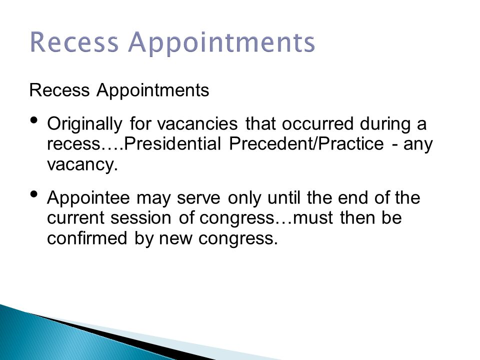Recess Appointments Recess Appointments