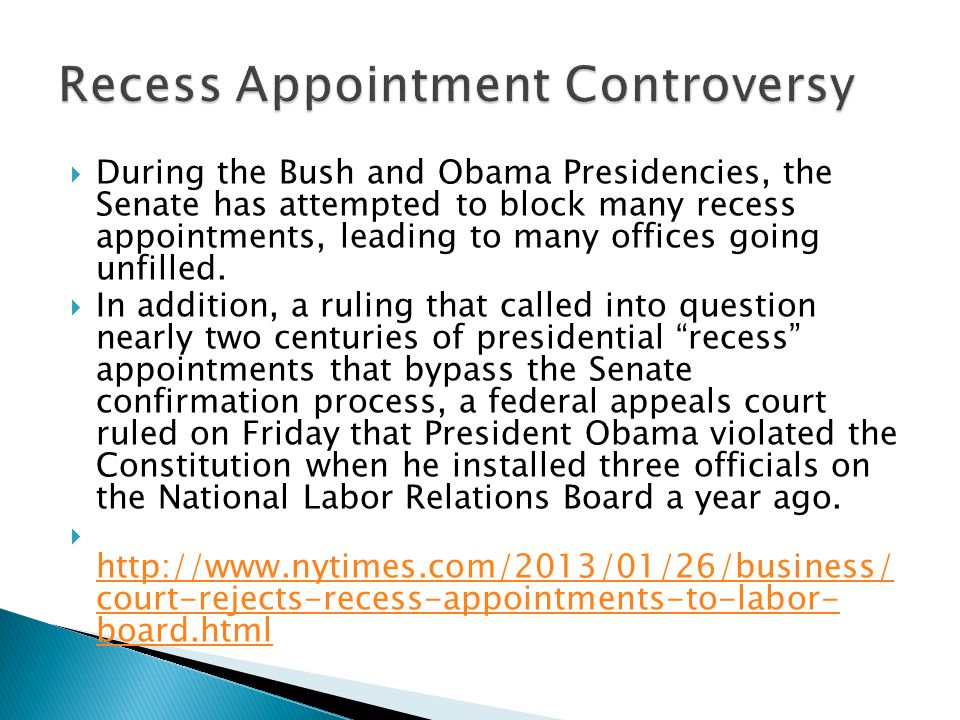 Recess Appointment Controversy