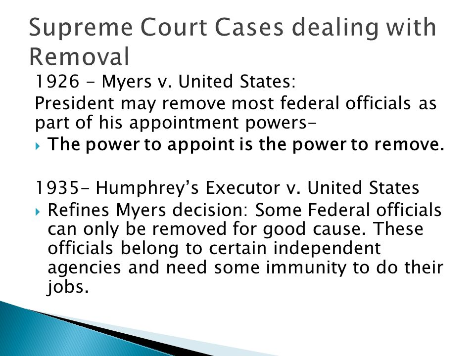 Supreme Court Cases dealing with Removal
