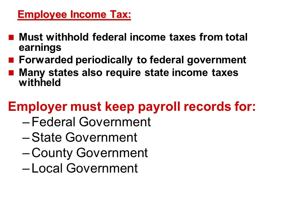 Employer must keep payroll records for: Federal Government