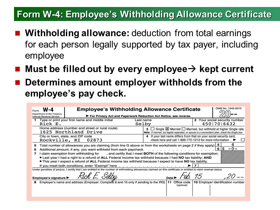 Form W-4: Employee's Withholding Allowance Certificate