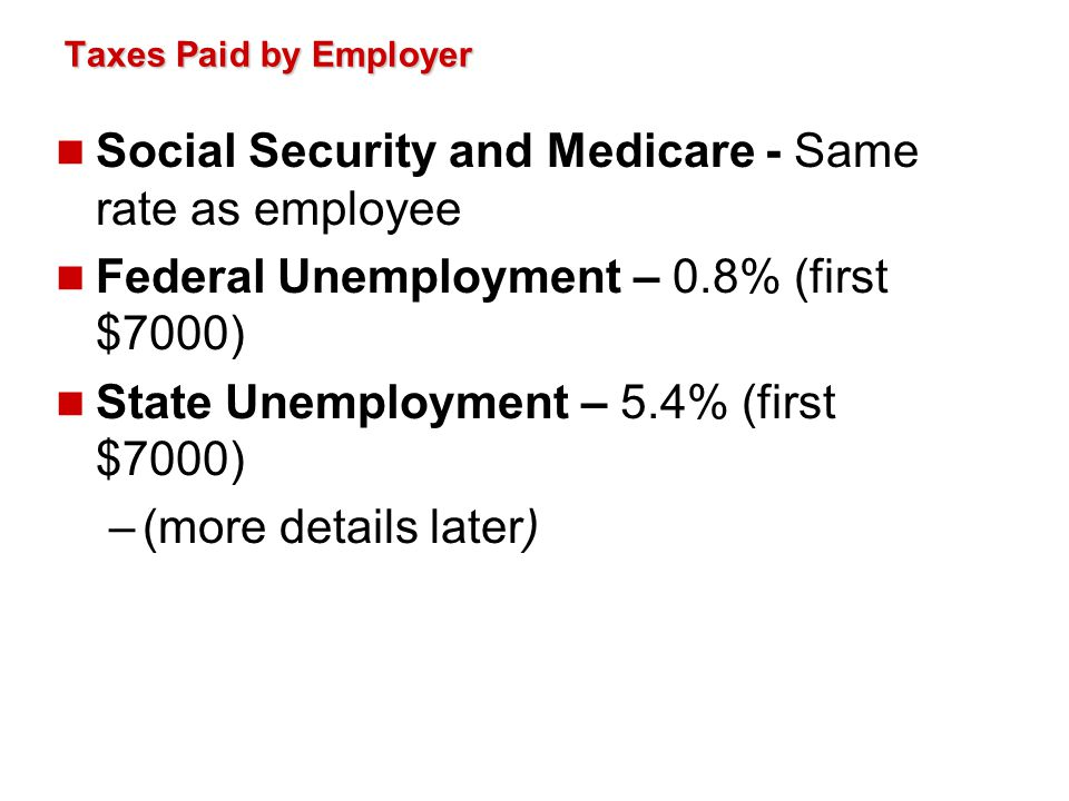 Social Security and Medicare - Same rate as employee
