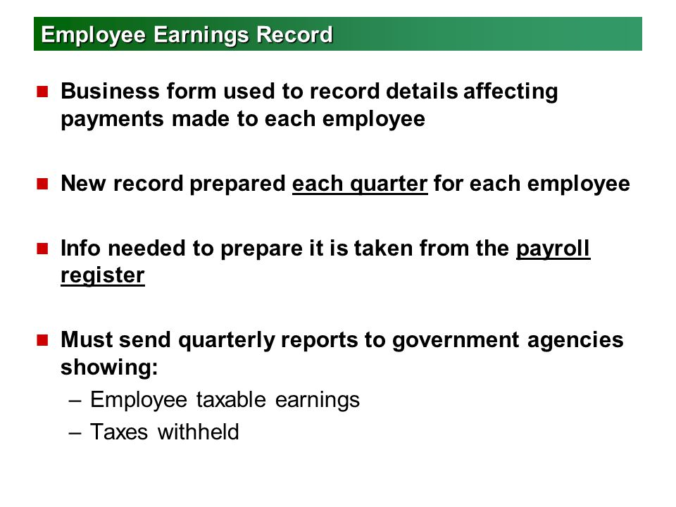Employee Earnings Record