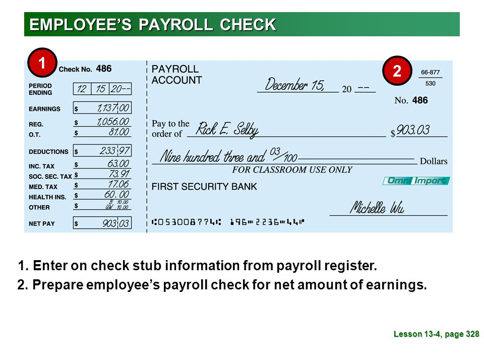 EMPLOYEE'S PAYROLL CHECK