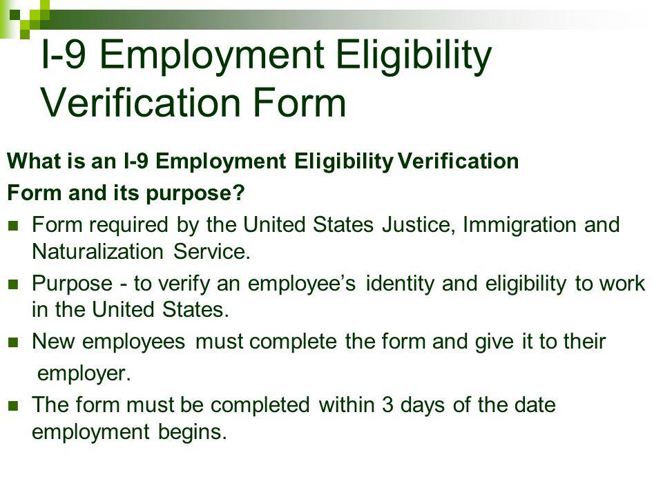 I-9 Employment Eligibility Verification Form
