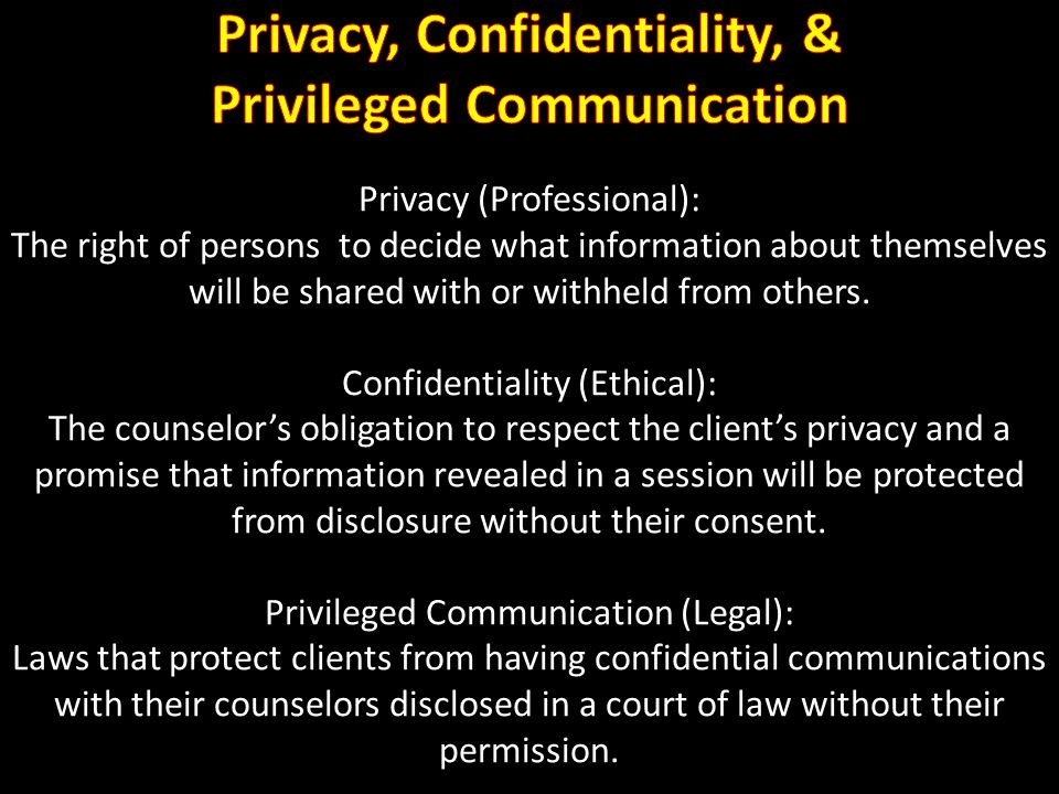 Privacy, Confidentiality, & Privileged Communication
