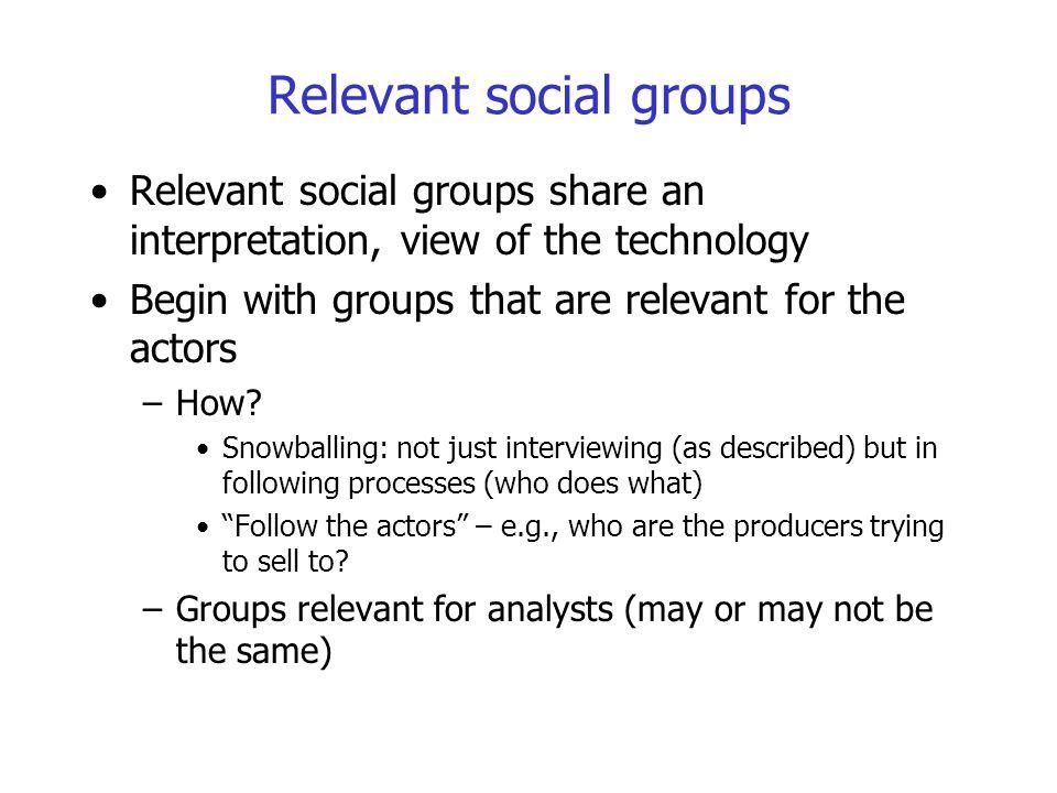 Relevant social groups