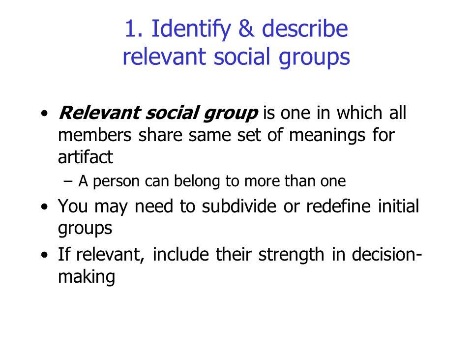 1. Identify & describe relevant social groups