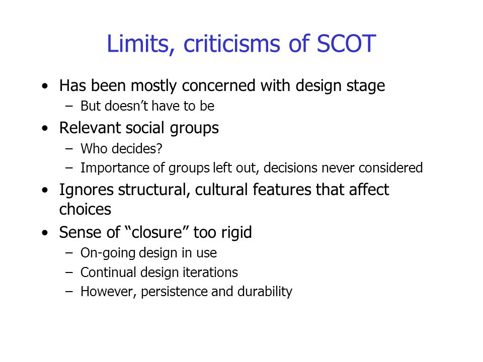 Limits, criticisms of SCOT