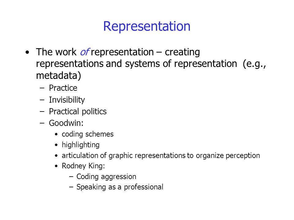Representation The work of representation – creating representations and systems of representation (e.g., metadata)