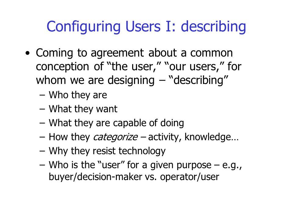 Configuring Users I: describing
